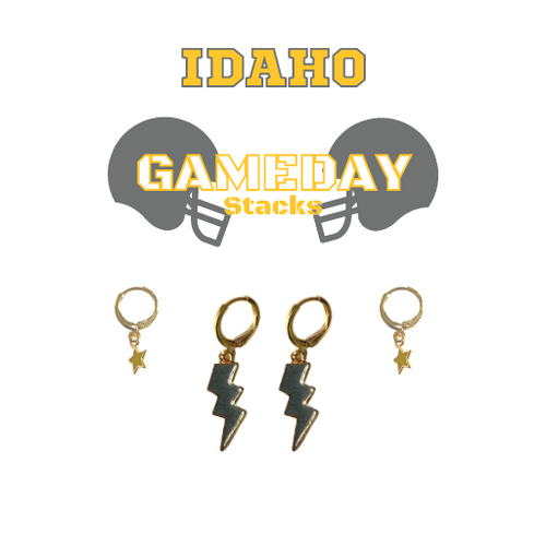 Colorado College Game Day Set with Grey Mini Enamel Bolts with Golden Yellow Baby Stars on Stand