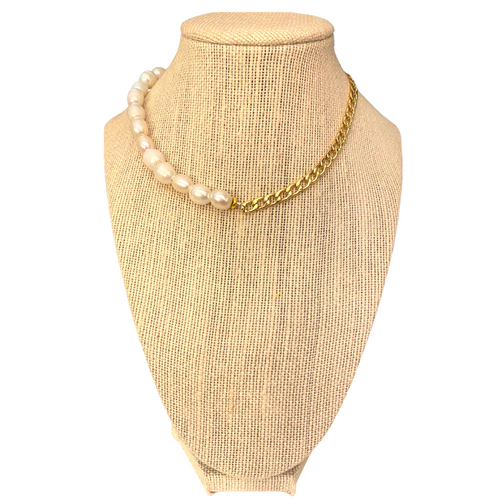 SBS  Pearl and Gold  Chain Necklace on Stand