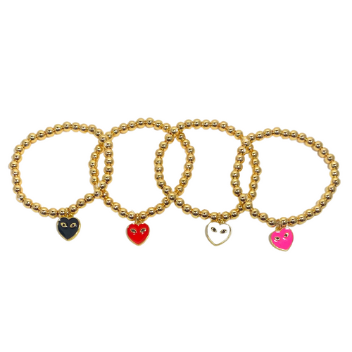 Set of 4  mini eye heart you bracelet