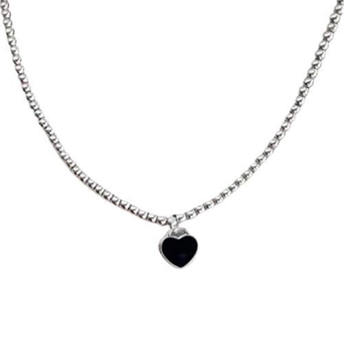 IHYMUYD Silver Beaded Choker with Black Heart