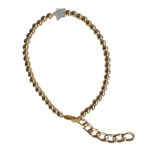 GOLD BALL AND PEARL STAR BRACELET
