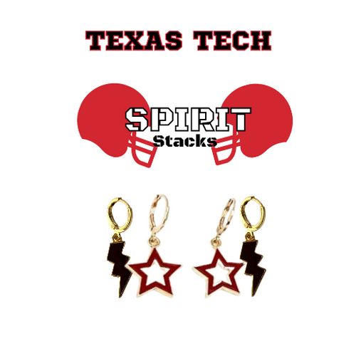 Texas Tech University Spirit Stack Set with Black Mini Enamel Bolts with Red Statement Open Starboys