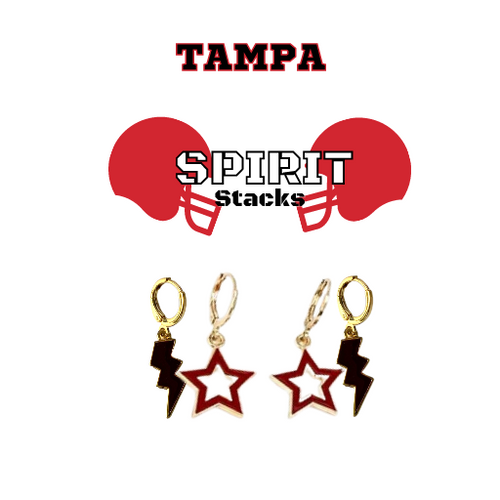 University of Tampa Spirit Stack Set with Black Mini Enamel Bolts with Red Statement Open Starboys