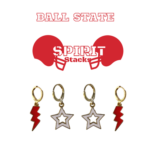 Ball State University Spirit Stack Set with Red Mini Enamel Bolts with White Statement Open Starboys