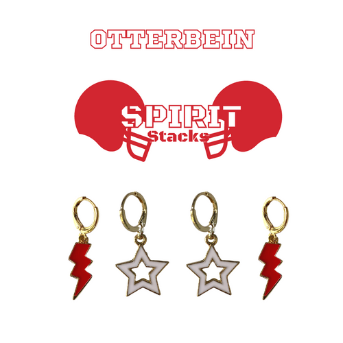 Otterbein University Spirit Stack Set with Red Mini Enamel Bolts with White Statement Open Starboys