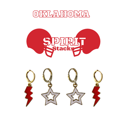 University of Oklahoma Spirit Stack Set with Red Mini Enamel Bolts with White Statement Open Starboys