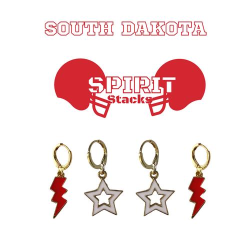 University of South Dakota Spirit Stack Set with Red Mini Enamel Bolts with White Statement Open Starboys