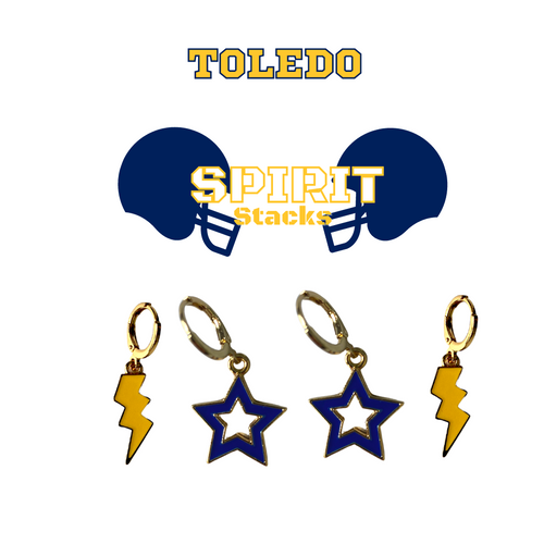 University of Toledo Spirit Stack Set with Golden Yellow Mini Enamel Bolts with Navy Statement Open Starboys