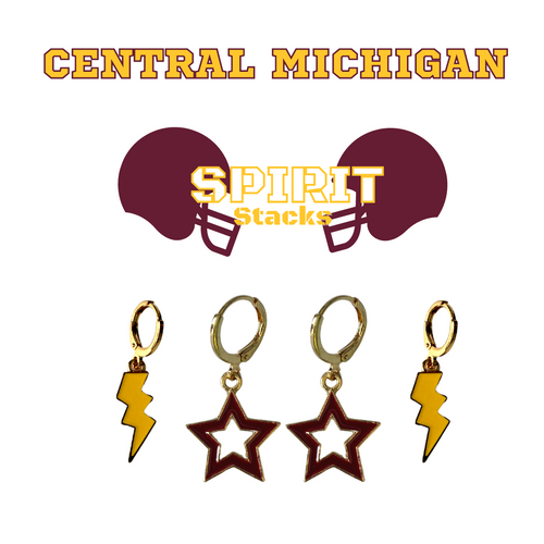 Central Michigan University Spirit Stack Set with Golden Yellow Mini Enamel Bolts with Maroon Statement Open Starboys