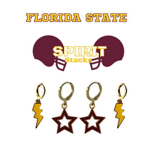 Florida State University Spirit Stack Set with Golden Yellow Mini Enamel Bolts with Maroon Statement Open Starboys
