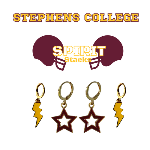 Stephens College Spirit Stack Set with Golden Yellow Mini Enamel Bolts with Maroon Statement Open Starboys