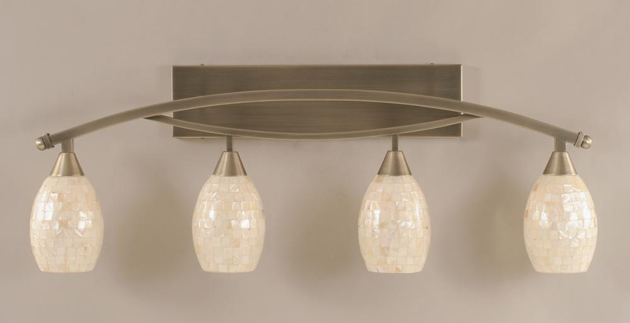 Toltec Bow 4 Light 5 Inch Ivory Glaze Seashell Brushed Nickel Bathroom Vanity Light 174 Bn 406 The Home Lighting Shop