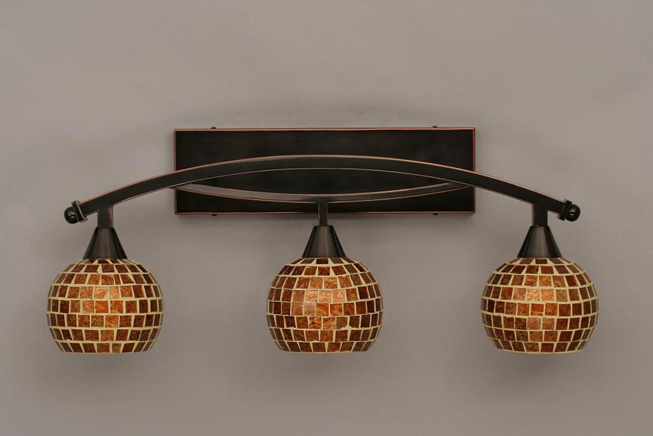 Toltec Lighting Zilo 3 Light Bath Bar with 6 Mystic Seashell Glass