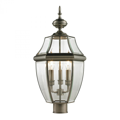 Outdoor Lights By Elk Cornerstone Ashford 3 Light Exterior Post Lantern In Antique 13x23 8603EP/80