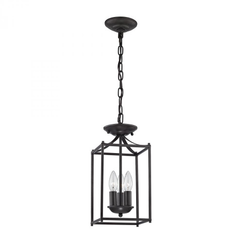 Chandeliers/Pendant Lights By Elk Cornerstone Foyer Collection 3 Light Pendant In Oil Rubbed B 7x14.75 7713FY/10