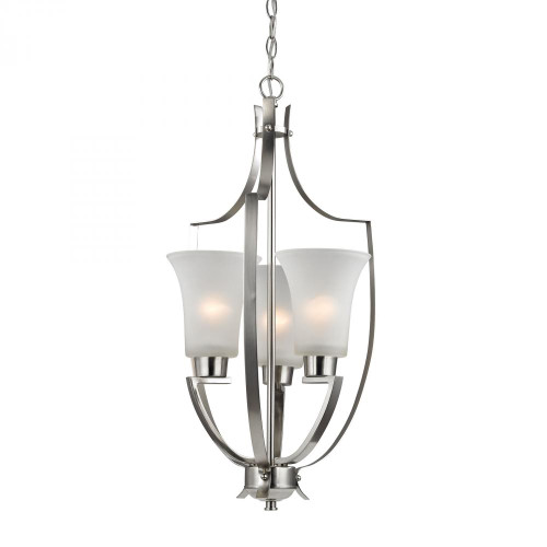 Chandeliers/Pendant Lights By Elk Cornerstone Foyer Collection 3 Light Pendant In Brushed Nick 14.5x27 7703FY/20