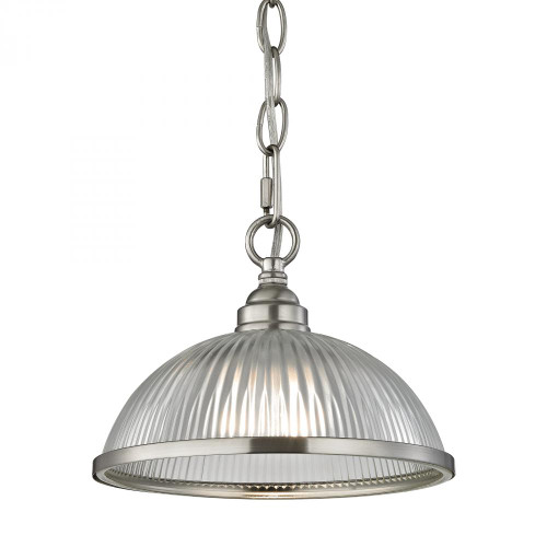 Chandeliers/Pendant Lights By Elk Cornerstone Liberty Park 1 Light Pendant In Brushed Nickel 8.75x6.5 7661PS/20
