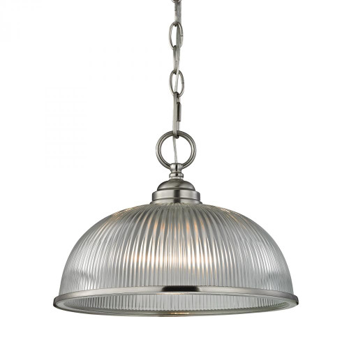 Chandeliers/Pendant Lights By Elk Cornerstone Liberty Park 1 Light Pendant In Brushed Nickel 12x9 7681PL/20