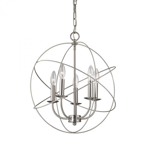 Chandeliers By Elk Cornerstone Williamsport 5 Light Chandelier In Brushed Nickel 18x20 1515CH/20