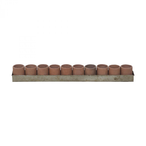 Brands/Guild Masters By Guild Masters Brown Large Terra Cotta Tea Light Ring In Natural Terra Cotta And Aged Tin 2015517