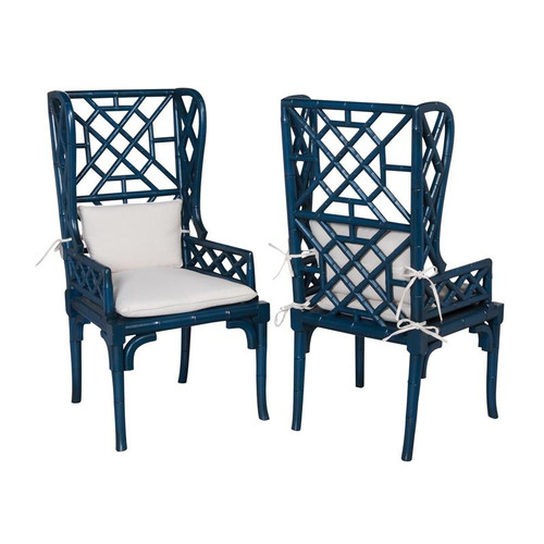 Brands/Guild Masters By Guild Masters Blue Bamboo Wing Back Chair 694018P