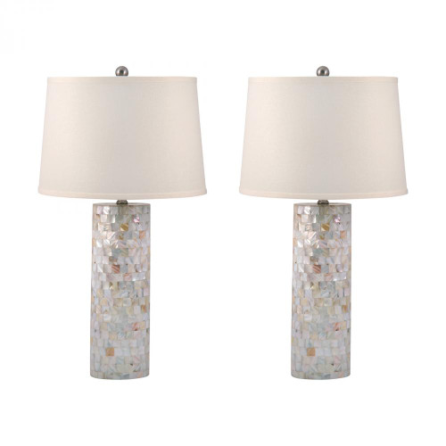 Lamps By Lamp Works Mother of Pearl Cylinder Table Lamps - Set of 2 812/S2