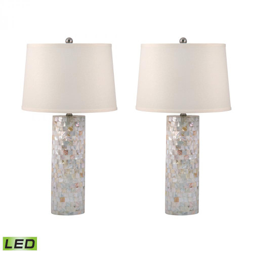 Lamps By Lamp Works Mother of Pearl Cylinder LED Table Lamps - Set of 2 812/S2-LED