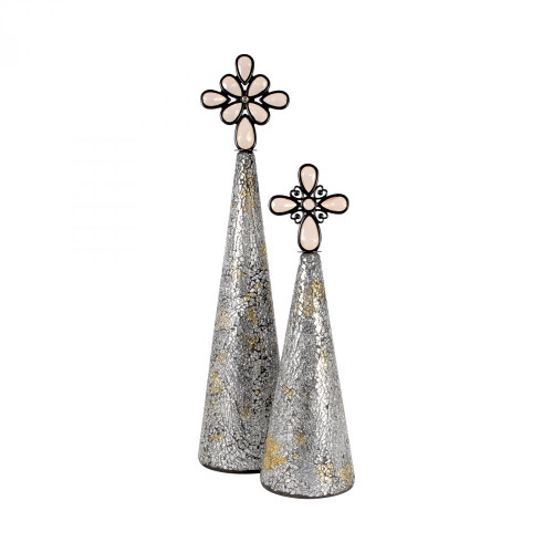 Bulbs & Accessories By Pomeroy Montage Set of 2 Christmas Trees - Silver 519208