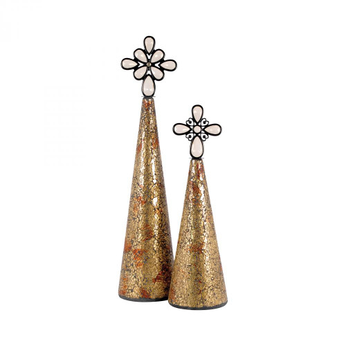 Bulbs & Accessories By Pomeroy Montage Set of 2 Christmas Trees - Gold 519215
