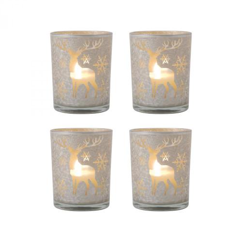 Brands/Pomeroy By Pomeroy Reindeer Set of 4 Pillar Holders 394607/S4