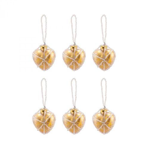 Brands/Pomeroy By Pomeroy Beaded Ornaments Set - Gold Heart 519260/S6
