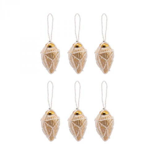 Brands/Pomeroy By Pomeroy Beaded Ornaments Set - Conical 519277/S6