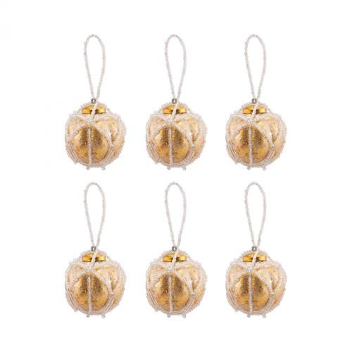Brands/Pomeroy By Pomeroy Beaded Ornaments Set - Optic Round 519284/S6