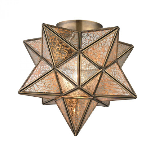 Ceiling Lights By Sterling Industries Sirius Gold 10-In Metal Flush Mount With Antiqued Mercury Glass 1145-003