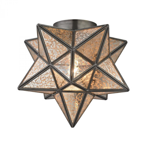 Ceiling Lights By Sterling Industries Sirius Oiled Bronze 10-Inch Metal Flush Mount With Antiqued Mercury Glass 1145-004