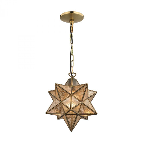 Chandeliers/Pendant Lights By Sterling Industries Sirius Gold 10-In Metal Pendant with Antiqued Mercury Glass 1145-006