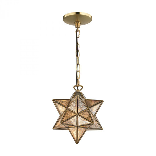 Chandeliers/Pendant Lights By Sterling Industries Sirius Gold 9-In Metal Pendant with Antiqued Mercury Glass 1145-008