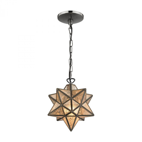 Chandeliers/Pendant Lights By Sterling Industries Sirius Oiled Bronze 9-In Metal Pendant with Antiqued Mercury Glass 1145-009