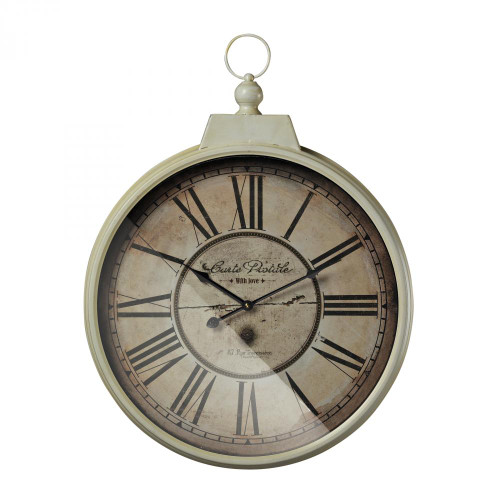 Home Decor By Sterling Industries Carte Postal Clock With Antique Cream Metal Frame 118-042