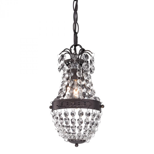Chandeliers/Pendant Lights By Sterling Industries Clear Crystal Mini Pendant With Bronze Banding 122-016