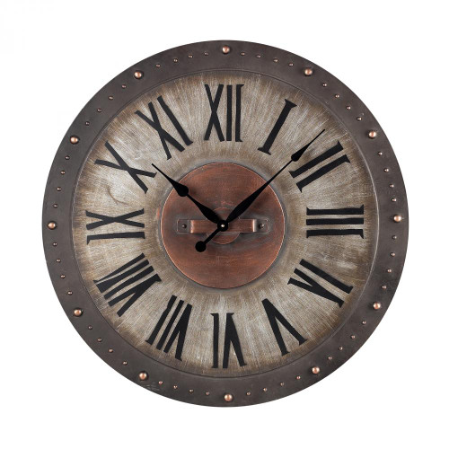 Home Decor By Sterling Industries Copper Metal Roman Numeral Outdoor Wall Clock. 32x32 128-1005