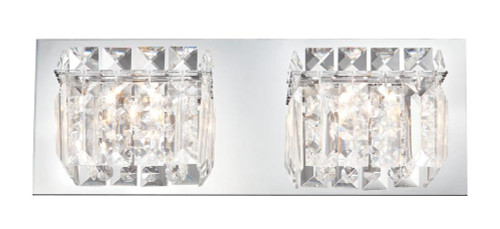 Wall Lights By Alico Crown 2 Light Vanity In Chrome And Clear Crystal Glass BV1002-0-15