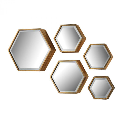 Home Decor By Sterling Industries Hexagonal Beveled Mirror - Set of 5 138-170/S5