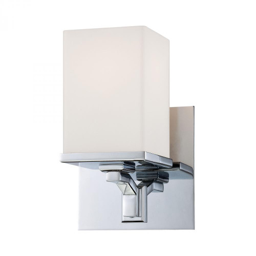 Wall Lights By Alico Ramp 1 Light Vanity In Chrome And White Opal Glass BV2081-10-15