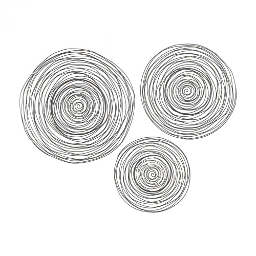 Home Decor By Sterling Industries Triskele Gunmetal Grey with Gold 16-24 Inch Set of 3 Raw Iron Spiral Wall Decor 3138-276/S3
