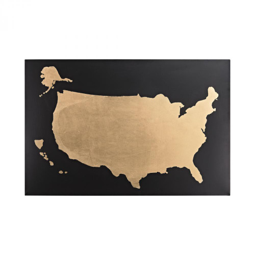 Home Decor By Sterling Industries Metallic World Map on Black 351-10202