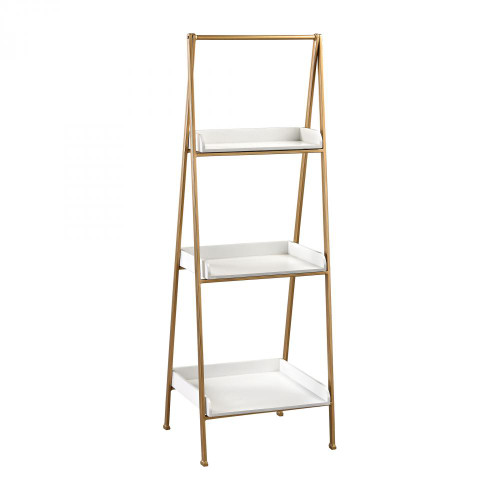 Home Decor By Sterling Industries White and Gold Accent Shelf 351-10205