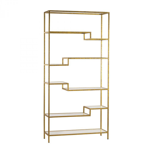 Home Decor By Sterling Industries Gold and Mirrored Shelving Unit 351-10209