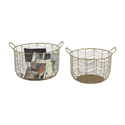 Home Decor By Sterling Industries Tuckernuck  2-Piece Metal Bowl Set In Gold 19x16 351-10222/S2