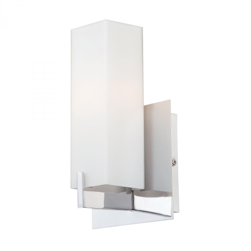 Wall Lights By Alico Moderno 1 Light Sconce In Chrome And White Opal Glass BV281-10-15